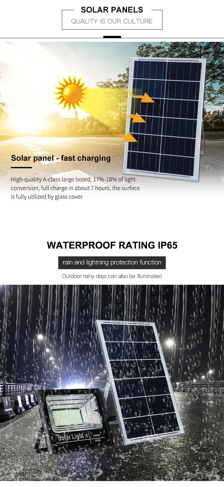 Hohe helligkeit IP65 Outdoor Druckguss Aluminium 25 40 60 100 watt solar led flutlicht