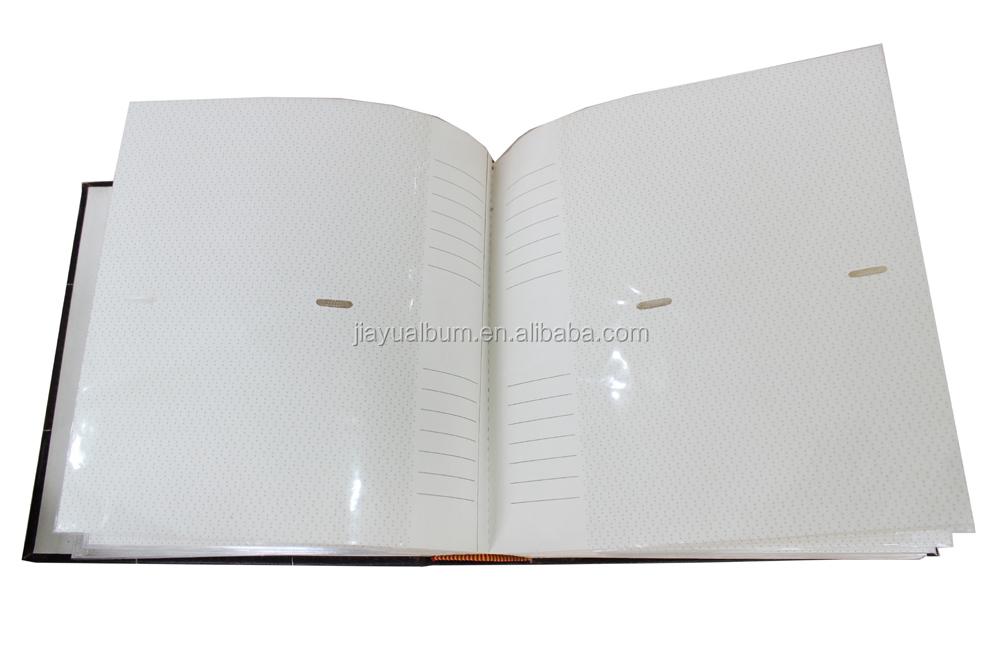 zwart lederen afdrukken cover boek gebonden 4x6 fotoalbums met memo