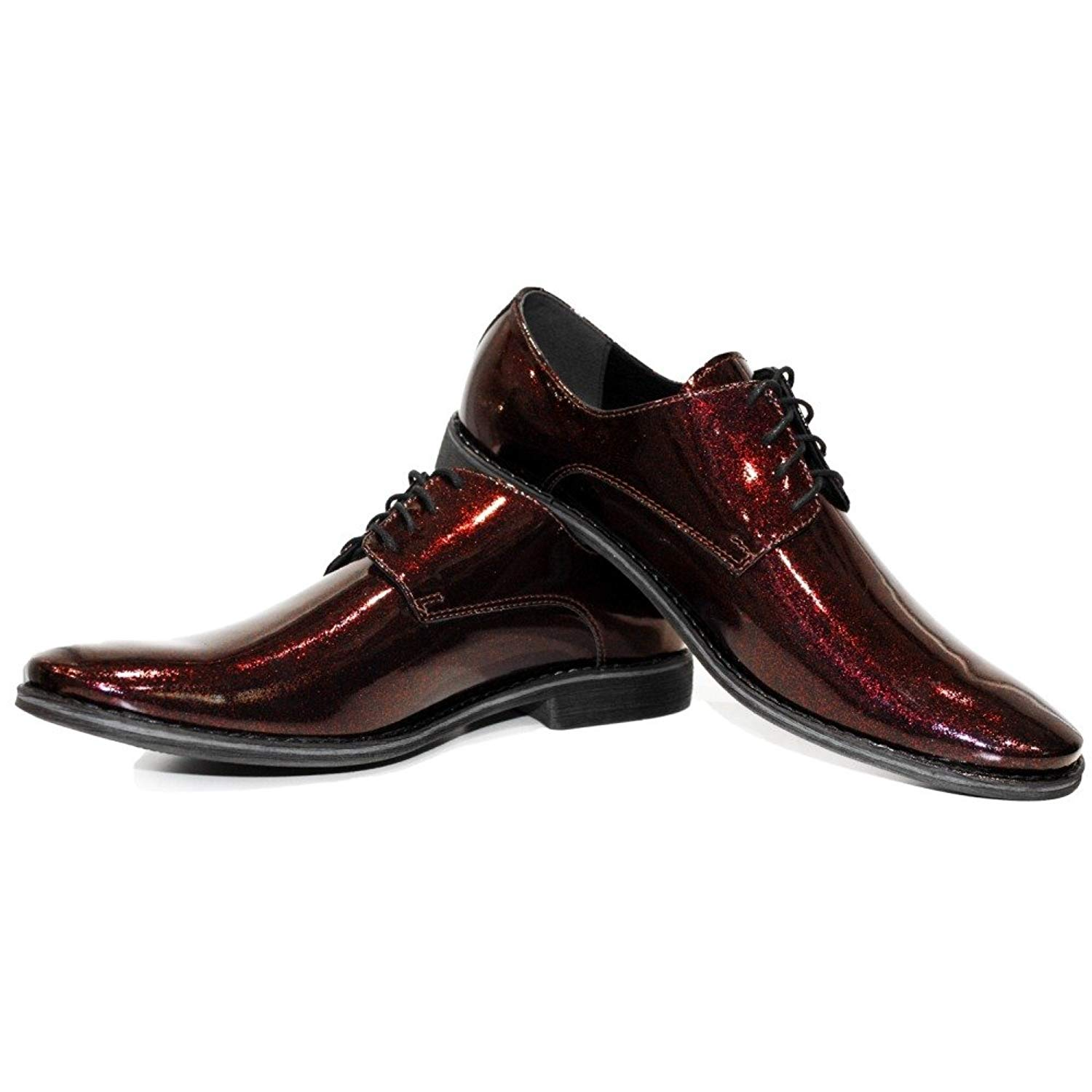 Modello Redparty - Handmade Italian Mens Red Oxfords Dress Shoes - Cowhide Patent Leather - Lace-up