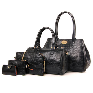 custom new model cheap imported 5 piece set genuine crocodile leather ladies tote bag handbags