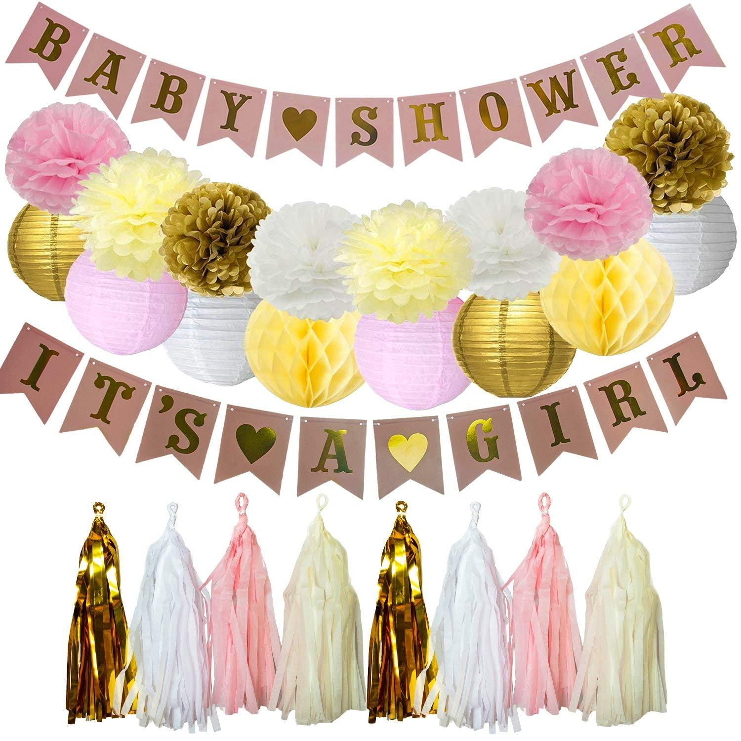 Baby Shower Decorations for Girl, DIY ITS A Girl & Baby Shower Banner, Pom Poms, Tassel Garland, and Honeycomb Balls, Gender Reveal, Pink and Gold Nursery Room Decor for Babies, Party Supplies & More