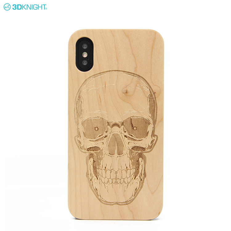 Fashion Custom Logo Laser Engraving Blank Cherry Wood Cell Phone Case For Iphone X