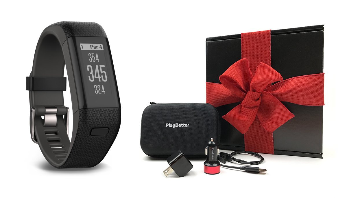 Garmin Approach X40 (X-Large, Black/Gray) Gift Box Bundle | Includes Golf GPS/Fitness Band, PlayBetter USB Car & Wall Charging Adapters, Protective Hard Carrying Case | Black Gift Box and Red Bow