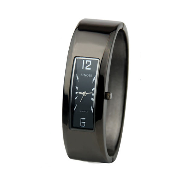 2015 Sinobi бренд часы черный браслет женщин часы мода стиль чешские манжеты кварцевые часы круглый браслет наручные часы