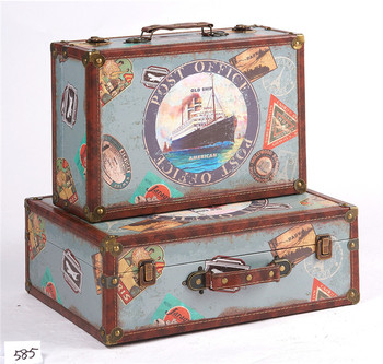 Vintage Suitcase Style Storage Boxes Leather Trunk