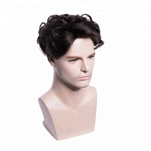 French Lace front hair replacement system men's Toupee with Fine Mono Top with PU Skin around