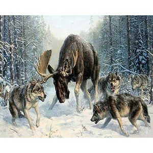 High Quality Animals Paint By Numbers Flock Of Wolves Wai Deer On Canvas For Wholesale With Frame For Kits And Adults For Decor