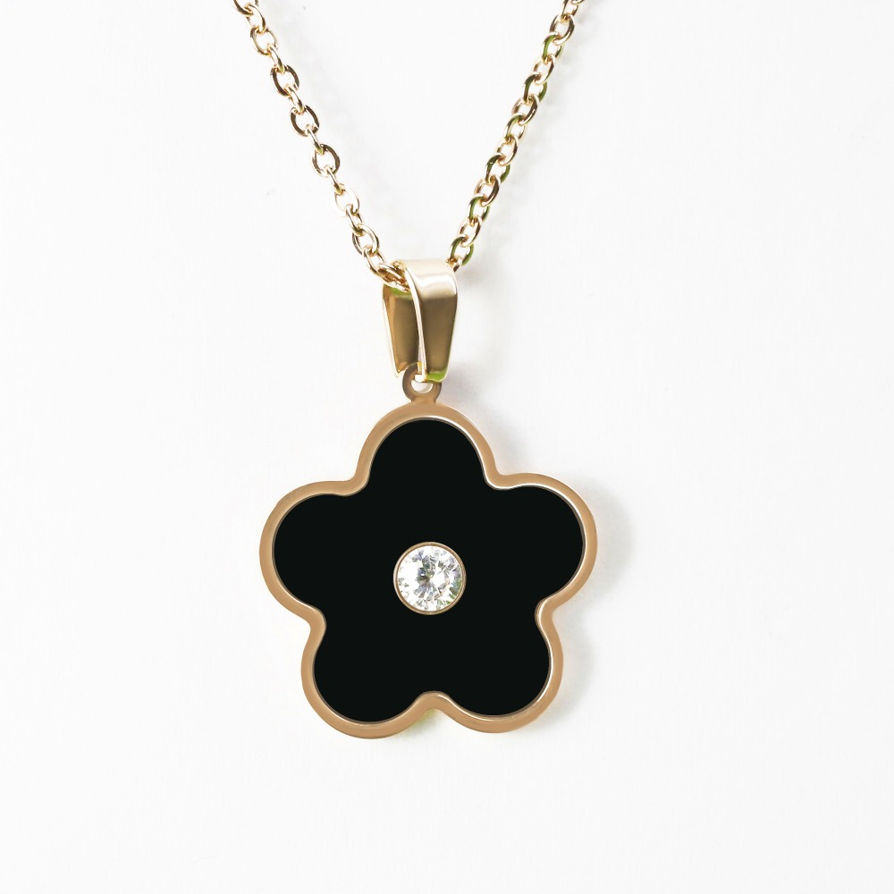 Kettingen Fashions Sieraden 2018 Rvs Custom Black Shell Clover Met Steen