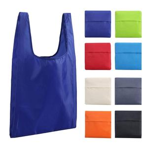 Customized Logo polyester foldable reusable tote shopping bag with printing logo