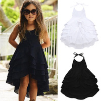 Western Style Luxury Beautiful Girl Summer One Piece Layered Ruffle Dress