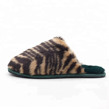 Tiger Grain Custom Cheap Winter Fur Indoor Fashion Slippers For Women
