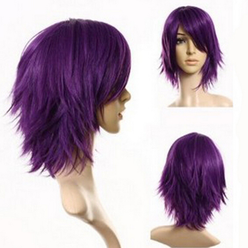 New Style Wholesale Kanekalon Synthetic Hair Men Female Cosplay Anime Dark Purple Short Wig + Free Wigs Cap
