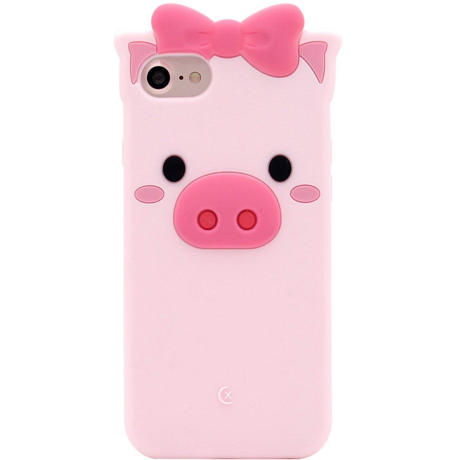 Case for iPhone 6 Plus/iPhone 6S Plus, SevenPanda Cute Piggy Cartoon Silicone Cute Adorable 3D Lovely Butterfly Pig Case Shockproof Protective Cover for iPhone 6S Plus / 6 Plus 5.5 Inch - Pink