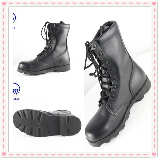 Manufacturer Custom Black Genuine Leather Waterproof Outdoor Police Military Tactical Jungle Desert Assault Combat Army Boots