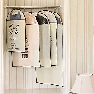 Mandydov 5pcs a Set Kids Bottom Outer Suit Dress Clothing Care Garment Bags Protectors Clothes Garment Dust Cover Protector Wardrobe Hanging Storage Bag Travel Carrier