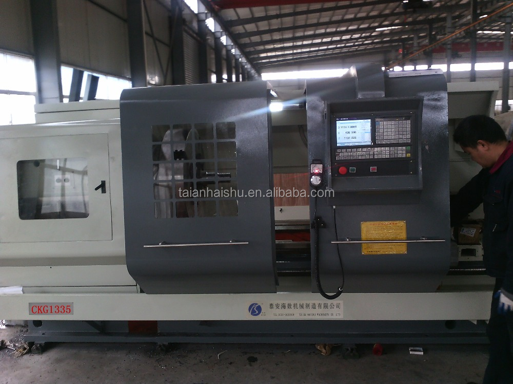 CKG1335A pipe thread cnc lathes machine with double chucks and big spindle bore