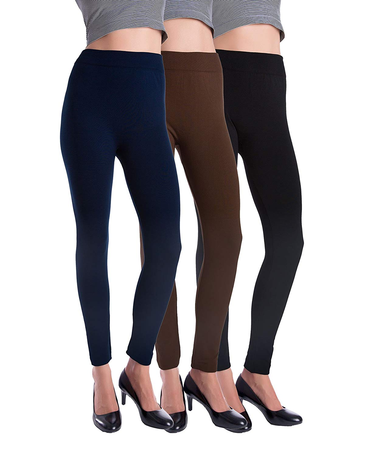 938caa6d8fee86 Get Quotations · Homma 3 Pack Warm Fleece Lined Thick Brushed Leggings  Thights