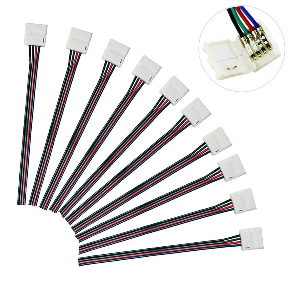 Mingdak® 10mm Any Angle Strip Connector for (Smd5050 Rgb) Color Changing 5050 Led Strip Light - Pack of 10