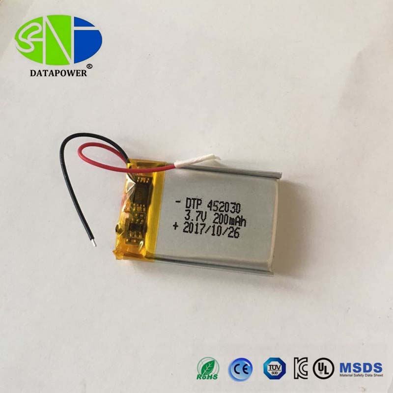Most popular DTP452030 3.7V 200mAh 220mAh li ion polymer/li-po battery with KC