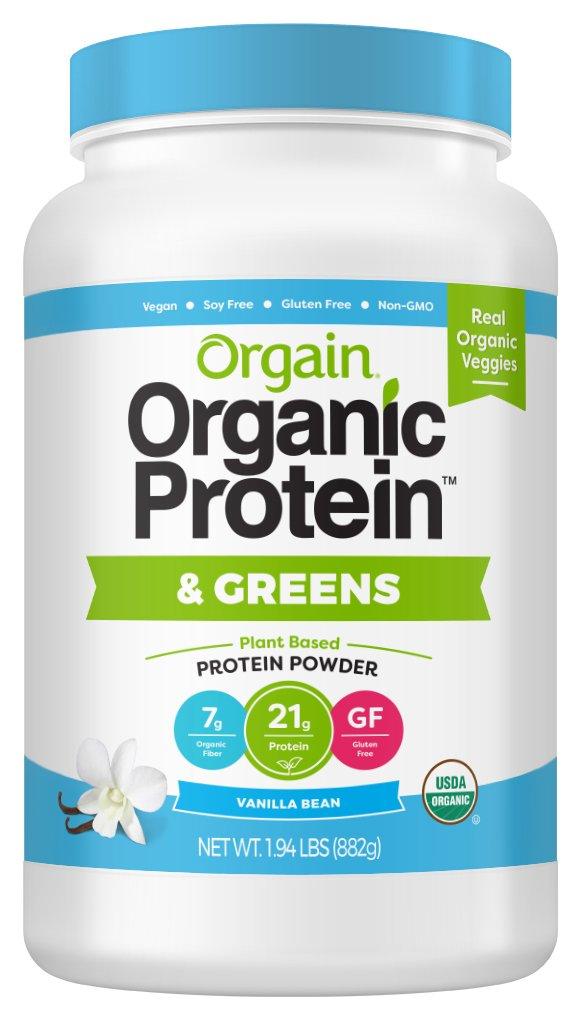 Orgain Organic Protein & Greens Plant Based Protein Powder, Vanilla Bean Vegan, Non-GMO, Gluten Free, 1.94 Pound, 1 Count,