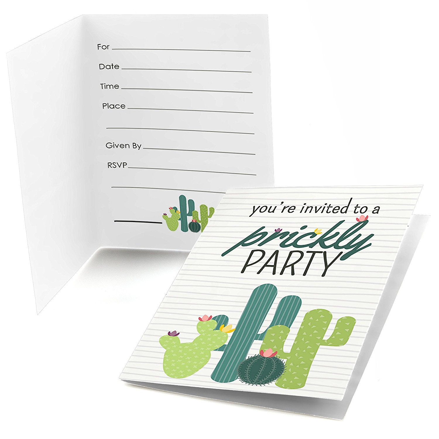 Big Dot of Happiness Prickly Cactus Party - Fill In Fiesta Party Invitations (8 count)