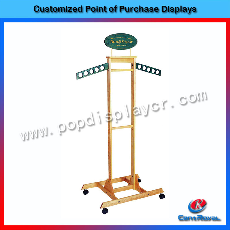 Retail store free standing wooden clothing racks