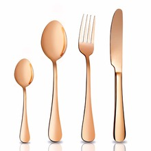 High quality gold flatware cutlery set stainless steel spoon knife fork