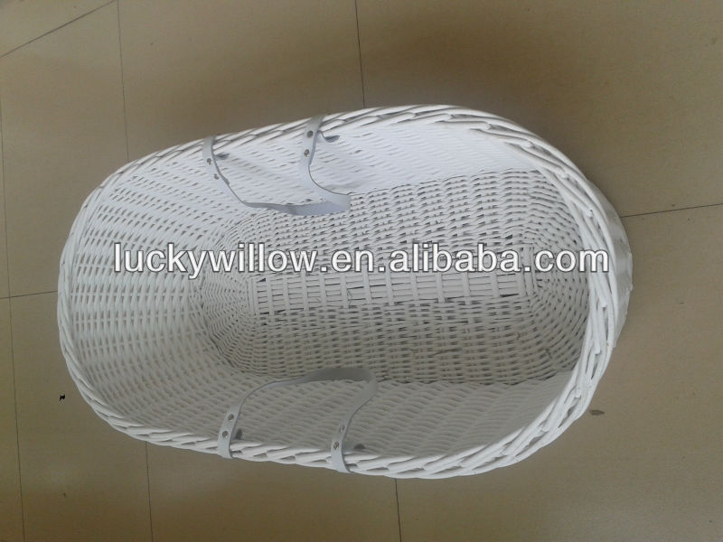 large white wicker baby basket for baby