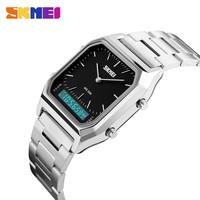 top luxury silver stainless steel strap women fashion bracelet quartz led clock 3 time zone 30m waterproof men's digital watch