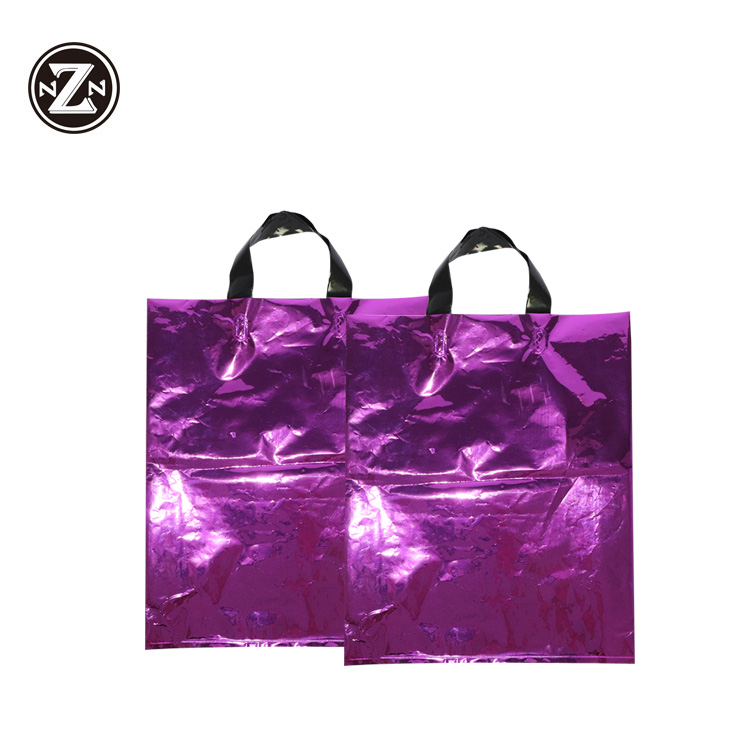 eco friendly flexible soft loop handle carry plastic bag with custom logo shopping bag for clothing packaging