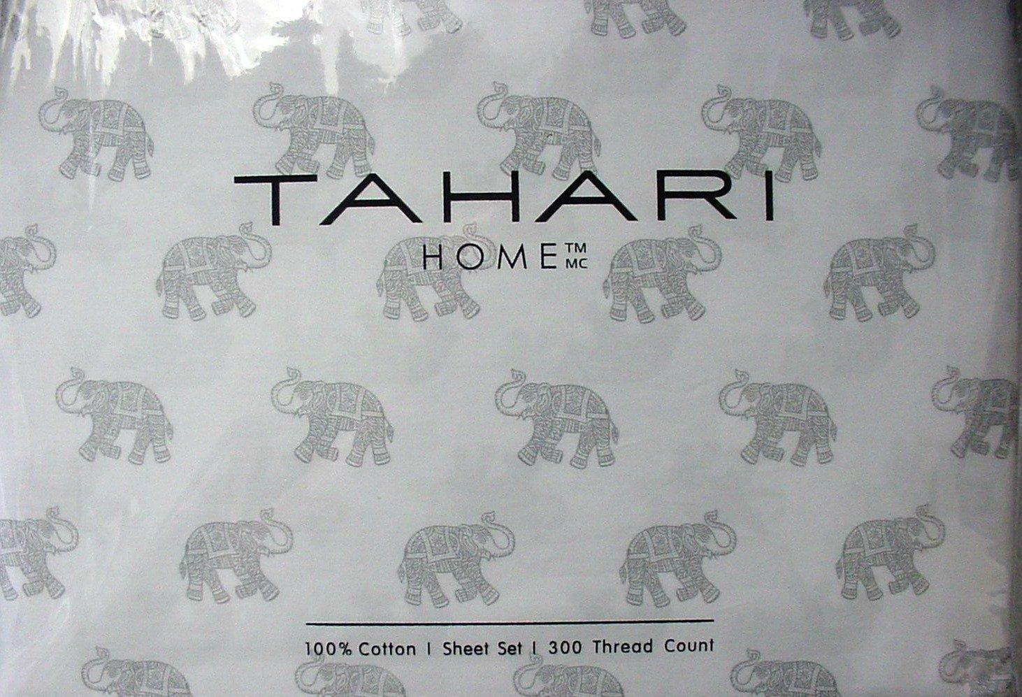 Tahari Home 4 Piece Sheet Set - Grey Elephants on White Background - 300 Thread Count -100% Cotton (King)