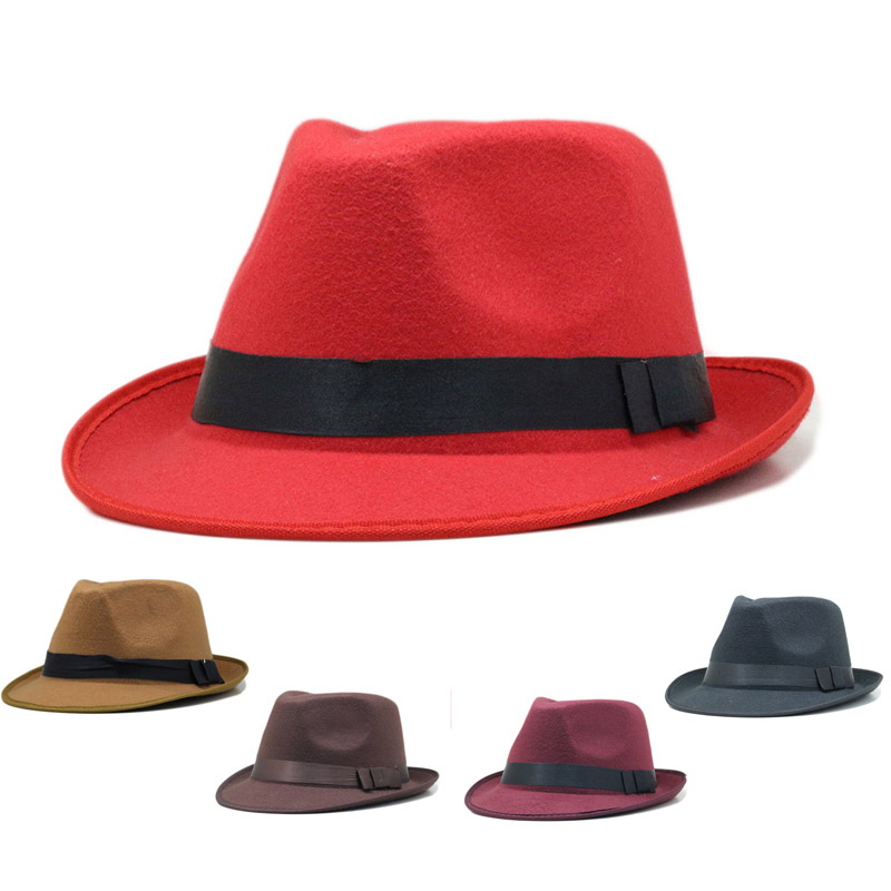 Black With Red Band Fedora Hat Wholesale 2c0b706771c7