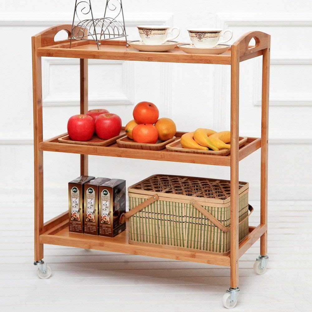 Kitchen Storage Rack Corner Tray Shelf Dining Car Trolley It Can Move Pulley Multifunction Bamboo 2 Sizes