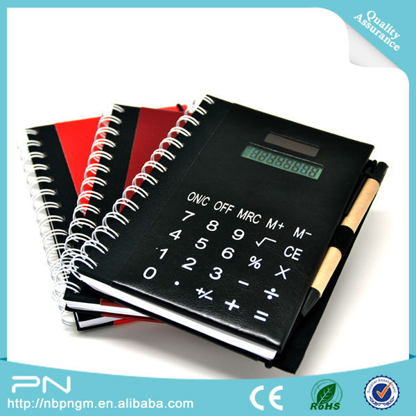 Solar Power PU Material Coil Notebook Calculator with Pen
