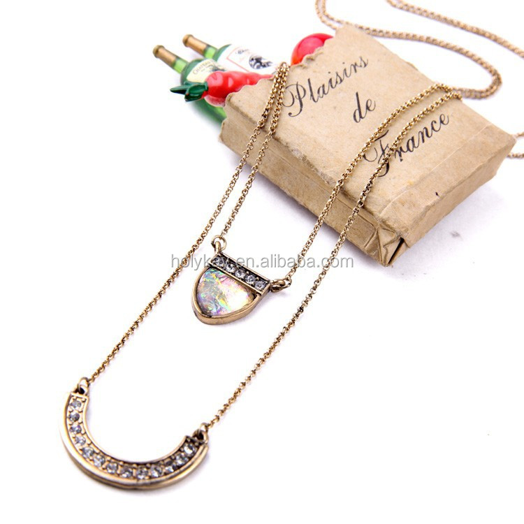 European Trend Double Chain Mixed Charm Pendant Necklace, fashion jewelry high end fashion jewelry