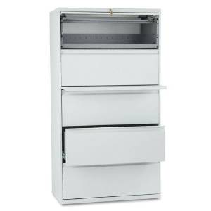 HON : 800 Series Five-Drawer Lateral File, Roll-Out/Posting Shelves, 36w x 67h, Lt Gra -:- Sold as 2 Packs of - 1 - / - Total of 2 Each