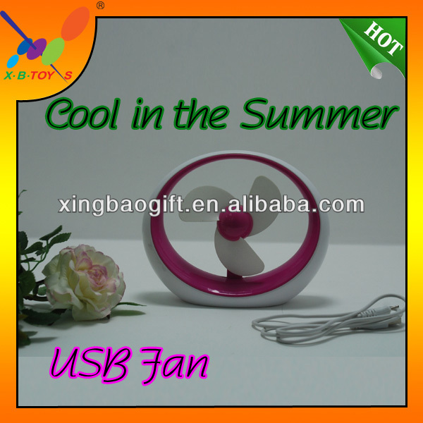 Colorful Portable Table USB Fan,PVC Box Packing Battery Fan,2014New Gift notebook fan.