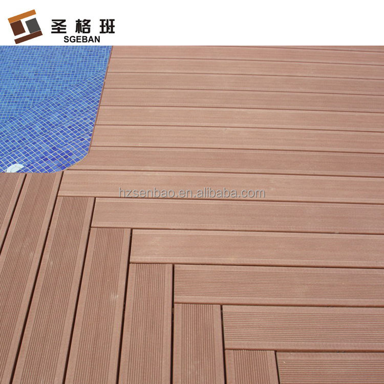 Light brown color hollow WPC grooved deck board