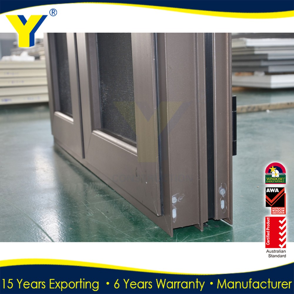 YY factory price impact windows /thermal break aluminium casement window/french window with stainless steel security screen