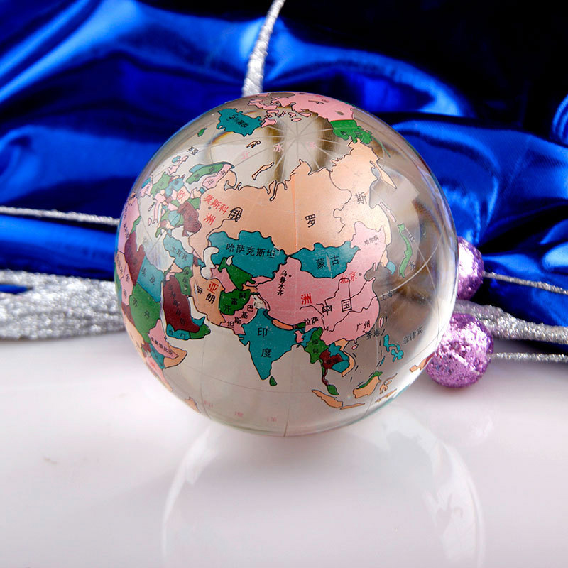 FREE SAMPLE High quality 60mm 80mm 100MM Round Shaped Clear World Globe MAP CRYSTAL glass ball world globe with base for gifts