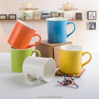 Wholesale promotional sublimation printed colorful glazed ceramic bone china office tea coffee cup with printing logo