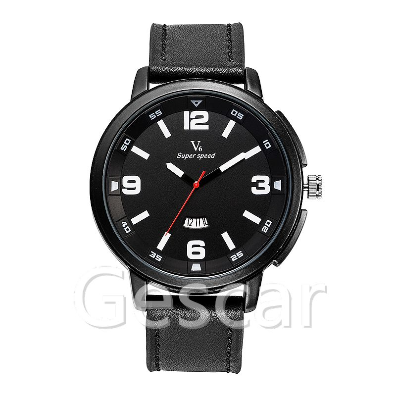 V6-b003 V6 super speed watch Big Round Dial High Quality men black Leather Watch with calendar