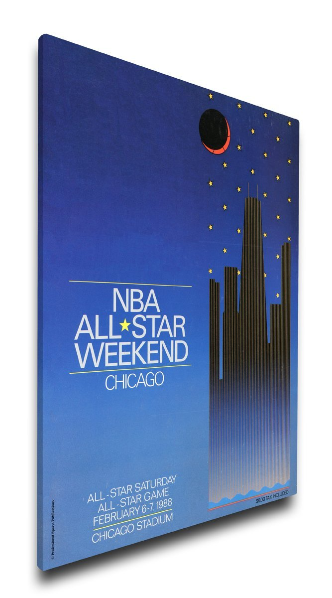 NBA Chicago Bulls 1988 All-Star Game Program Cover on Canvas, 18 x 24-Inch