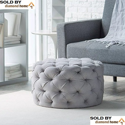 Excellent Buy Round Ottoman Grey This Large Tufted Round Ottoman Caraccident5 Cool Chair Designs And Ideas Caraccident5Info