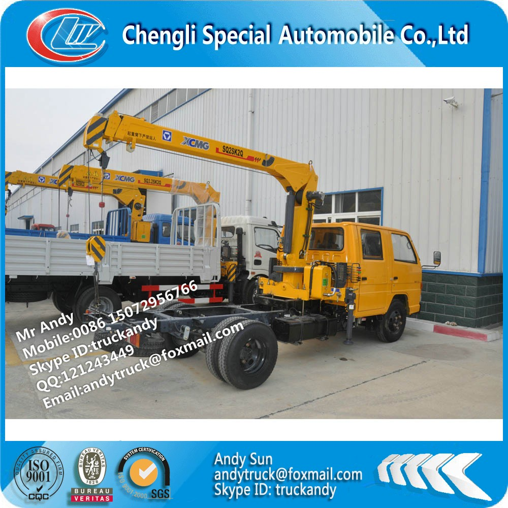 JMC Double cab 2 tons telescopic boom truck mounted crane manufacturer