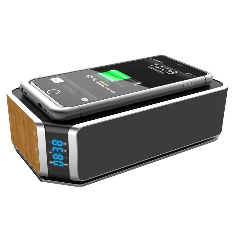 10W Qi Fast Wireless Charger Bt 4.1 Speaker With Alarm Clock And 4400Mah Power Bank Power