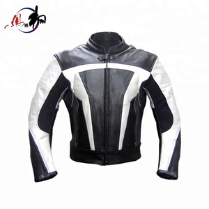 Custom white and black leather mens motorcycle jacket
