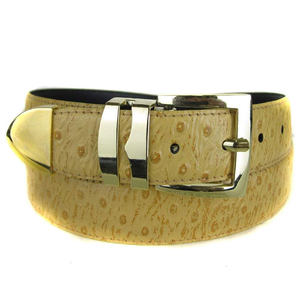 Ferrecci Mens Ostrich Belt Leather One Size Fits All