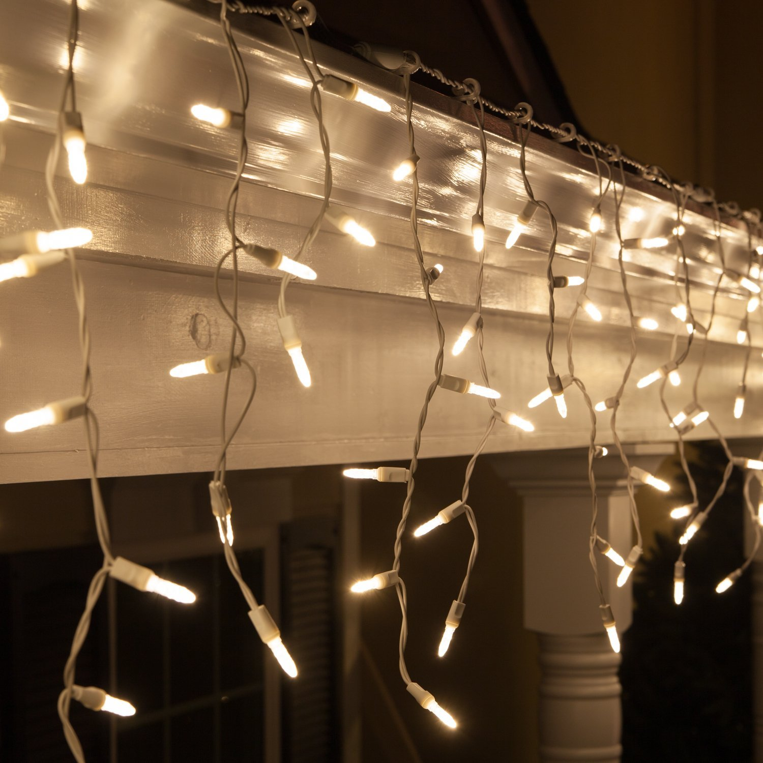 Get Quotations 70 Warm White Led Icicle Lights 7 5 Wire Outdoor Christmas Holiday