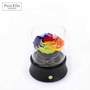 Eternal Flower Gift Box Glass Bluetooth Rotating Music Gift